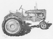 IH Farmall Tractor Pencil Sketch by Craig Cassell, a quadraplegic artist who draws with his mouth.