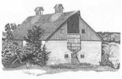 Hayloft Barn Pencil Sketch by Craig Cassell, a quadraplegic artist who draws with his mouth.