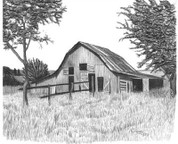 Old Horse Barn Pencil Sketch by Craig Cassell, a quadraplegic artist who draws with his mouth.