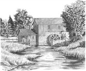 Water Mill Pencil Sketch by Craig Cassell, a quadraplegic artist who draws with his mouth.