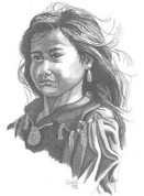 Indian Girl Pencil Sketch by Craig Cassell, a quadraplegic artist who draws with his mouth.