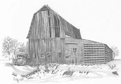 Old Barn & Truck Pencil Sketch by Craig Cassell, a quadraplegic artist who draws with his mouth.