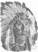 Elder Indian Chief Pencil Sketch by Craig Cassell, a quadraplegic artist who draws with his mouth.