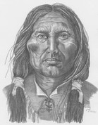 Native American Warrior Pencil Sketch by Craig Cassell, a quadraplegic artist who draws with his mouth.