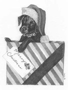 Santa Puppy Pencil Sketch by Craig Cassell, a quadraplegic artist who draws with his mouth.