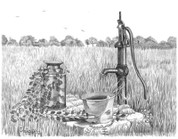 Old Fashioned Waterpump Pencil Sketch by Craig Cassell, a quadraplegic artist who draws with his mouth.