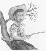 Little Boy Fishing Pencil Sketch by Craig Cassell, a quadraplegic artist who draws with his mouth.