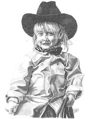 Little Cowgirl Pencil Sketch