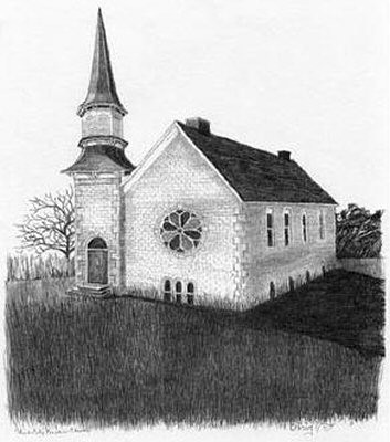 Old Church Pencil Sketch by Craig Cassell, a quadraplegic artist who draws with his mouth.