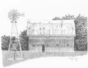 Old Barn & Windmill Pencil Sketch by Craig Cassell, a quadraplegic artist who draws with his mouth.