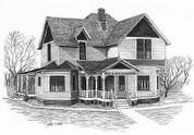 Country Home Pencil Sketch by Craig Cassell, a quadraplegic artist who draws with his mouth.