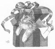 Cat in the Box Pencil Sketch by Craig Cassell, a quadraplegic artist who draws with his mouth.