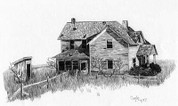 Abandoned House Pencil Sketch by Craig Cassell, a quadraplegic artist who draws with his mouth.