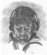 Sad Indian Girl Pencil Sketch by Craig Cassell, a quadraplegic artist who draws with his mouth.