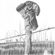 Fence Post & Old Boot Pencil Sketch by Craig Cassell, a quadraplegic artist who draws with his mouth.