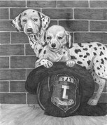 Dalmation Puppies at the Firehouse Pencil Sketch by Craig Cassell, a quadraplegic artist who draws with his mouth.