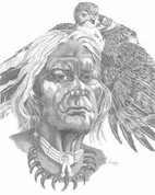 American Indian Pencil Sketch by Craig Cassell, a quadraplegic artist who draws with his mouth.