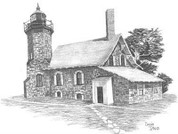 Coastal Light Lighthouse Pencil Sketch by Craig Cassell, a quadraplegic artist who draws with his mouth.