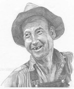 Cowboy's Toothless Smile Pencil Sketch by Craig Cassell, a quadraplegic artist who draws with his mouth.