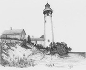 Seaside Splendor Lighthouse Pencil Sketch by Craig Cassell, a quadraplegic artist who draws with his mouth.
