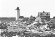 Lighthouse Point Pencil Sketch by Craig Cassell, a quadraplegic artist who draws with his mouth.