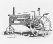 Antique John Deere Tractor Pencil Sketch by Craig Cassell, a quadraplegic artist who draws with his mouth.