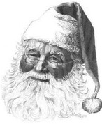 Kris Kringle Pencil Sketch by Craig Cassell, a quadraplegic artist who draws with his mouth.