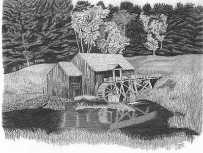 Old grist mill pencil sketch by craig cassell a quadraplegic artist who draws with his