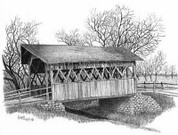 Covered Bridge Pencil Sketch by Craig Cassell, a quadraplegic artist who draws with his mouth.