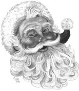Jolly Old St. Nick Pencil Sketch by Craig Cassell, a quadraplegic artist who draws with his mouth.