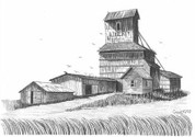 Old Time Grain Elevator Pencil Sketch by Craig Cassell, a quadraplegic artist who draws with his mouth.