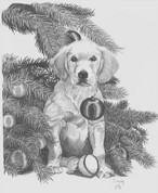 Puppy with Christmas Ornament Pencil Sketch by Craig Cassell, a quadraplegic artist who draws with his mouth.