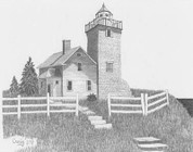 The Guardian Lighthouse Pencil Sketch by Craig Cassell, a quadraplegic artist who draws with his mouth.