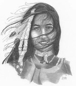 Indian Maiden Pencil Sketch by Craig Cassell, a quadraplegic artist who draws with his mouth.