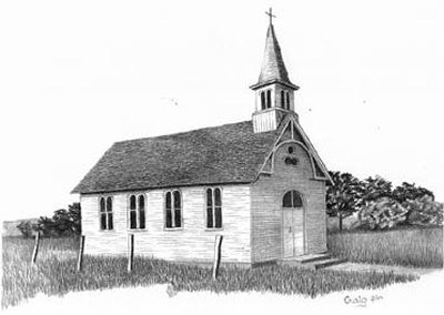 Country Church Pencil Sketch by Craig Cassell, a quadraplegic artist who draws with his mouth.