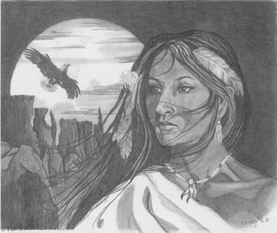 Native american woman pencil sketch by craig cassell a quadraplegic artist who draws with his