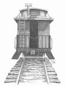 Train Caboose Pencil Sketch by Craig Cassell, a quadraplegic artist who draws with his mouth.