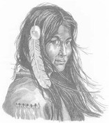 Indian Maiden in Waiting Pencil Sketch by Craig Cassell, a quadraplegic artist who draws with his mouth.
