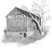 Chew Mail Pouch Tobacco Barn Pencil Sketch by Craig Cassell, a quadraplegic artist who draws with his mouth.