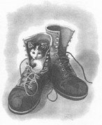 Kitten in Boots Pencil Sketch by Craig Cassell, a quadraplegic artist who draws with his mouth.