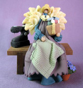 Sewing Angel on Bench Polymer Clay Figurine