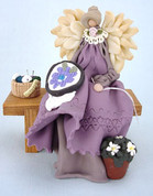 Needlepoint Angel on Bench Polymer Clay Figurine
