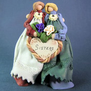 Two Sisters Polymer Clay Figurine