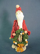 Santa Holding Wreath Figurine Polymer Clay Figurine