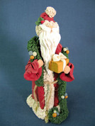 Santa w/ Gift and Garland Figurine Polymer Clay Figurine