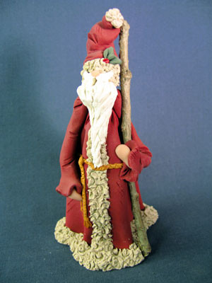 Santa w/ Walking Staff Figurine Polymer Clay Figurine