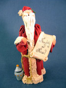 "Santa w/ Scroll ""Naughty or Nice?"" Figurine Polymer Clay Figurine"