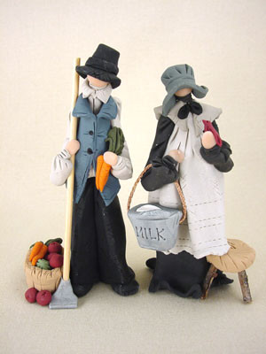 Amish Couple Figurines Polymer Clay Figurine