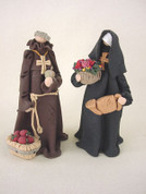 Nun & Monk Figurines Polymer Clay Figurine