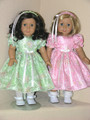 18 inch Handmade American Girl Doll Spring Green Taffeta Dress